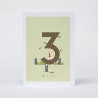 Lucky Pine: Happy 3rd Birthday Card