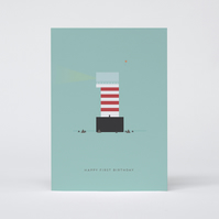 Lighthouse First Birthday Card