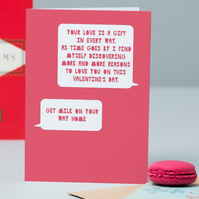 Your Love is a gift....get milk valentine's card