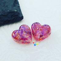 Stained Glass Hearts, Tropical Love Heart Pair, Lampwork Beads