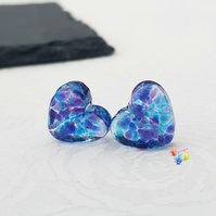 Parma Violet Love Heart Pair, Stained Glass Hearts, Lampwork Beads MTO