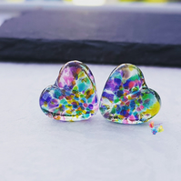 Kaleidoscope Stained Glass Heart Pair,
