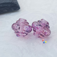 Lampwork Beads, Summer Berry Cider Spinner Pair