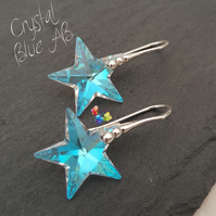 Crystal AB Star Earrings, Sterling Silver