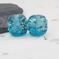 Saltwater Blue Ombre Beads, Lampwork Beads