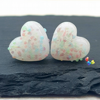 Unicorn Rainbow Heart Pair, Lampwork Glass Beads Handmade  MTO
