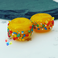 Carnival Rainbow Blossom Pair, Lampwork Glass Beads  MTO