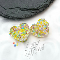 Textured Zahur Rainbow Blossom Glass Hearts, Lampwork Beads Handmade