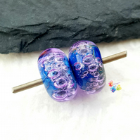 Violet Nights Bubble Pair, Lampwork Glass Beads