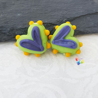 Hippy Happy Funky Heart Pair, Lampwork Beads