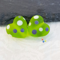 Funky Green Polka Heart Pair, Lampwork Glass Beads Handmade - MTO