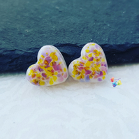 Lampwork Beads, Bali Sunset Opal Glass Heart Pair,