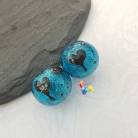 Turquoise Silhouette Shimmer Hearts, Lampwork Beads MTO