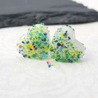 Lampwork Beads Handmade, Textured Lake Louise Heart Pair,
