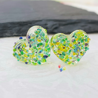 Lake Louise Lemon Textured Heart Pair, Lampwork Beads Handmade MTO