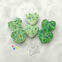 Irish Eyes Blossom Love Hearts, Lampwork Beads Handmade,  MTO