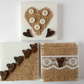 Set Of Three Mini Shabby Chic Heart Button Art Canvases