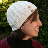 Woolly hat with cable pattern and button detail - choice of colour