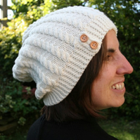 Slouchy beanie hat - merino wool - choice of colour