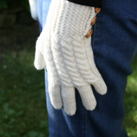 Merino wool winter gloves with cable pattern & button detail - choice of colour