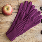 Purple merino wool gloves