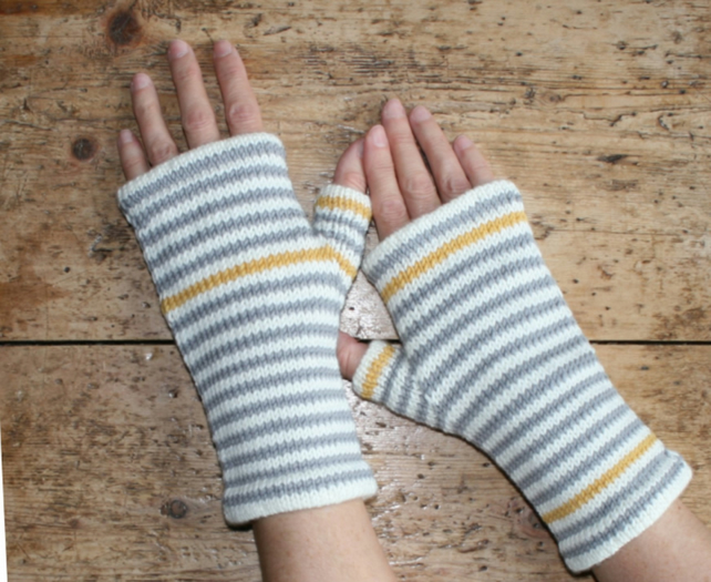 Merino wool striped fingerless gloves - cream, grey, yellow