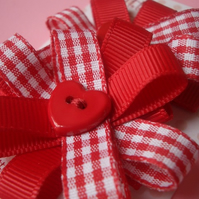 Pair of Sweet Red Gingham Heart Hair Clips, Slides!