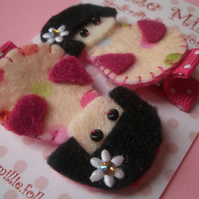 Cute Little Geisha Girl, Hair Clips. Swarovski!