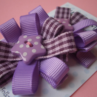 Pair of Sweet Purple Gingham Star Hair Clips, Slides!
