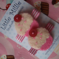 Pair of Sweet Baby Pink Cupcake Hair Clips, Slides!