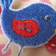 Little Blue Bird Embroidered Hair Clips FREE UK SHIPPING !!