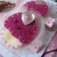 Pair of Sweet Pink Polka Cupcake Hair Clips, Slides! FREE UK SHIPPING!!!