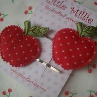 Pair of Cute Polka Dot Apple Kirby Grips Hair Slides