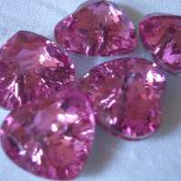 Pack of 5 Diamante Crystal Heart Buttons Red, Pink or Clear