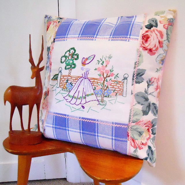 SALE Vintage Fabric Embroidered Linen Patchwork Cushion