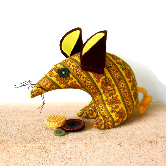 HI Mellow Yellow ! SALE ECO Vintage fabric Retro Mouse