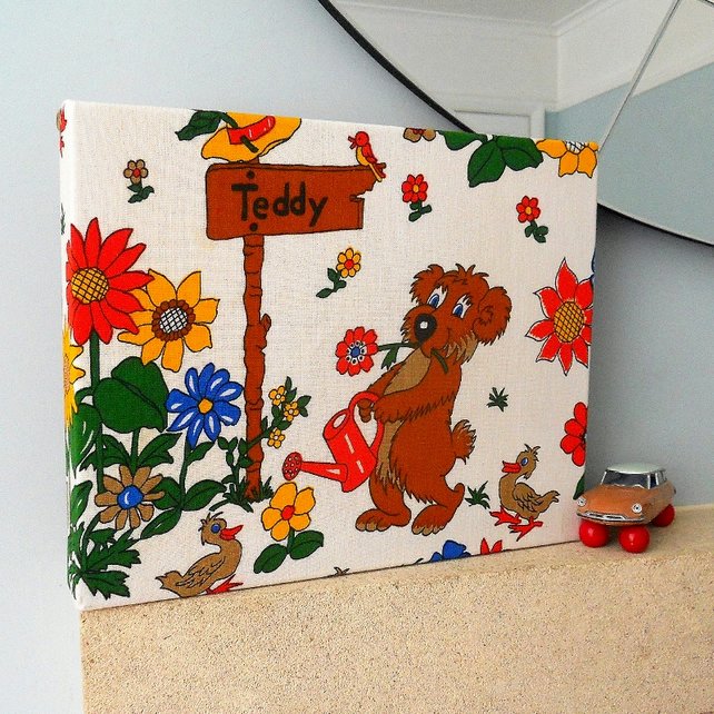 SALE  VIntage fabric  Gardening Teddy Bear  Picture