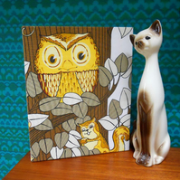 VIntage fabric  OWL Picture