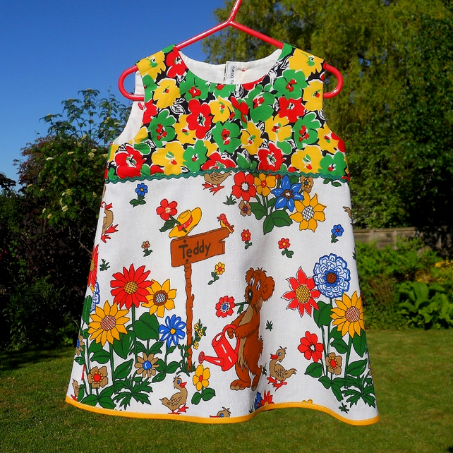 Garden and Bear  Vintage fabric dress for Toddler