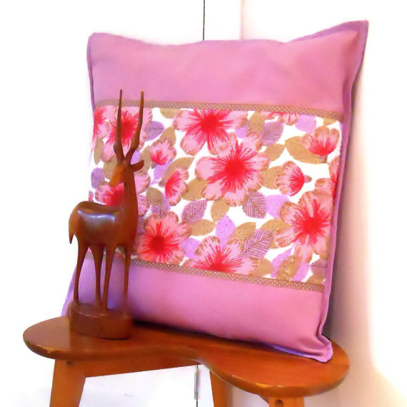 SALE PINK Vintage Fabric Cushion