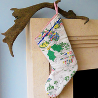 SALE Christmas Stocking Vintage fabric