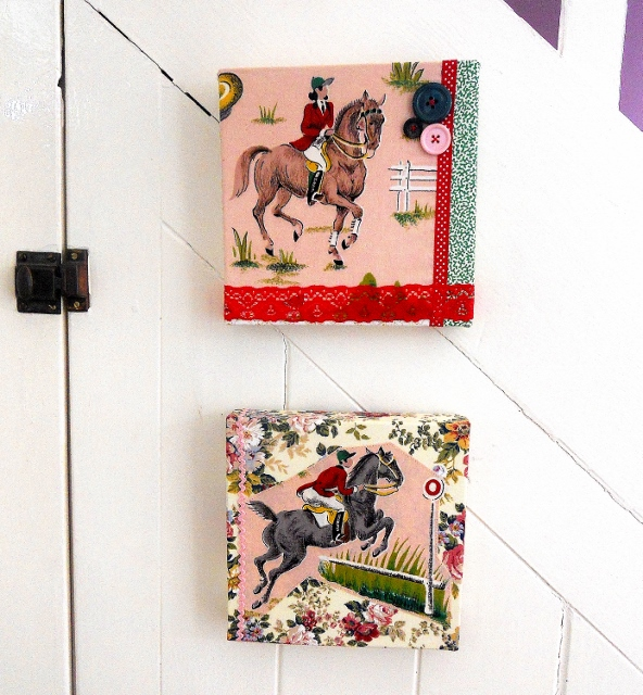 SALE VIntage fabric  Horse Riding Jumping Dressage  Picture