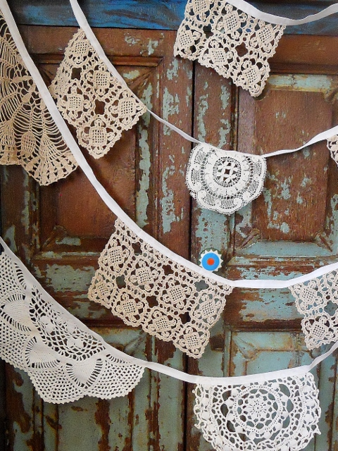 Vintage Doily bunting - great for Christmas or Weddings!