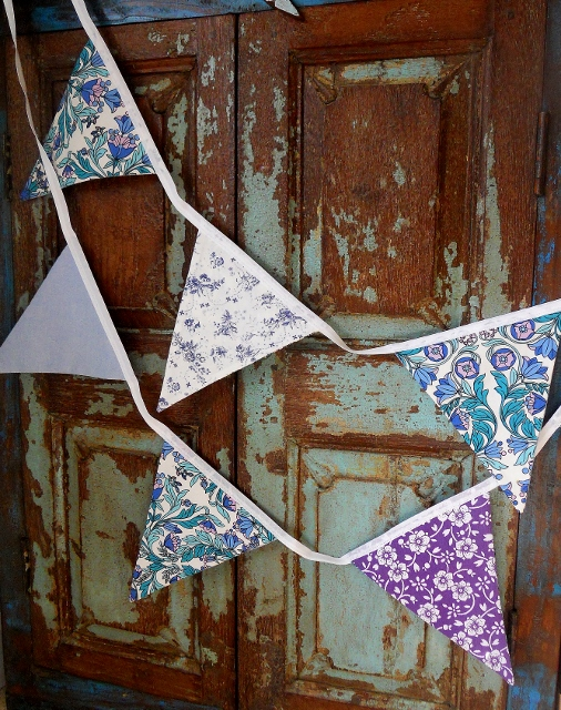 Vintage Fabric Blue and Purple Vintage Bunting