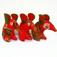 CHRISTMAS Vintage fabric Mouse