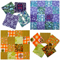 Vintage fabric  Patchwork pack - enough for CUSHION - Purple Yellow