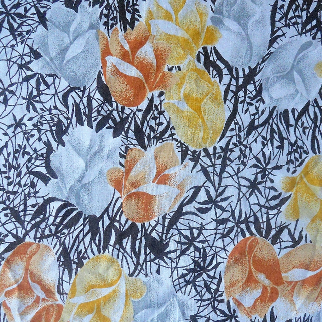 Vintage RETRO tulip Fabric ( brown)