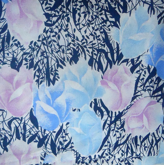 Vintage RETRO tulip Fabric ( blue)