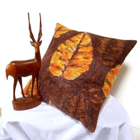 SALE Mid Century Autumn Leaf Vintage Fabric Cushion
