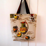 SALE Vintage Fabric Shopping bag